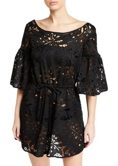Milly Lynda Lace Short-Sleeve Coverup Tunic