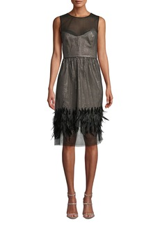Milly Margot Feather & Sequin Sheer Dress