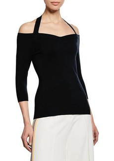 Milly Meghan Off-the-Shoulder Halter-Neck Top