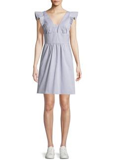 Milly Mel Seersucker V-Neck Mini Dress