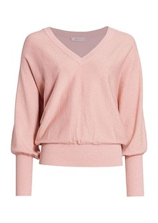 Milly Metallic Dolman-Sleeve Blouson Sweater