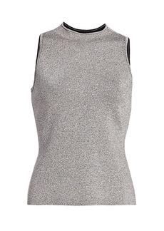 Milly Metallic-Knit Sleeveless Top
