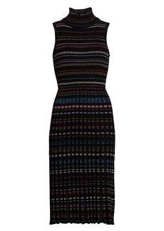 Milly Metallic Stripe Turtleneck Sweater Dress