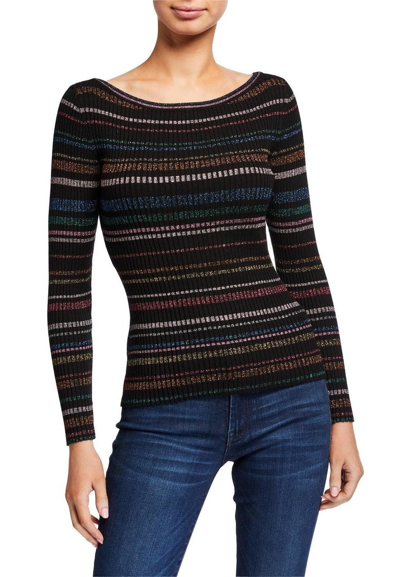 Milly Metallic Striped Boat-Neck Sweater