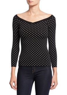 Milly Micro Dot V-Neck 3/4-Sleeve Sweater