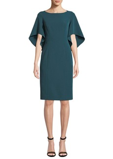 Milly Mila Boat-Neck Butterfly-Sleeve Italian Cady Sheath Dress