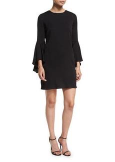 Milly 3/4 Bell-Sleeve Stretch-Silk Dress
