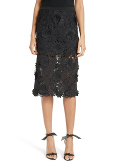 Milly 3D Floral Embroidery Midi Skirt