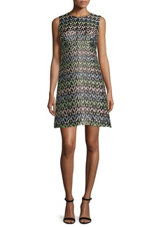 Milly A-Line Chevron Brocade Mini Dress