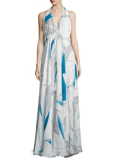 Milly Abstract-Print Chiffon Halter Gown