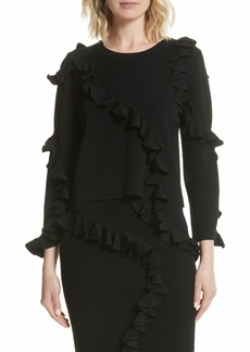 Milly Abstract Ruffle Pullover