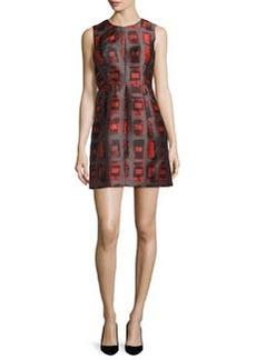 Milly Coco Sleeveless Brushstroke Rectangle-Print Dress