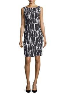 Milly Linear Geometric-Print Sheath Dress