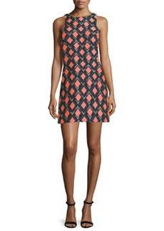 Milly Sleeveless Diamond-Print Sheath Dress