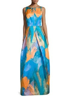 Milly Sleeveless Abstract-Print Gown