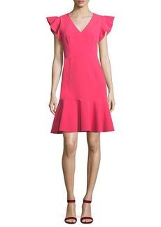 Milly Adelin Italian Cady Flutter-Sleeve Dress