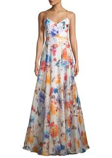 Milly Alana Floral-Print Silk Gazar Gown