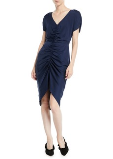 Milly Alexa Stretch-Silk Ruched-Front Dress