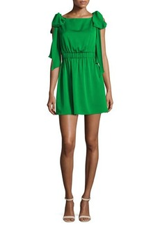 Milly Allie Sleeveless Stretch-Silk Dress w/ Shoulder Bows
