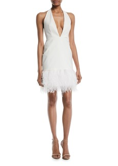 Milly Amy Feather-Hem Halter Cocktail Dress