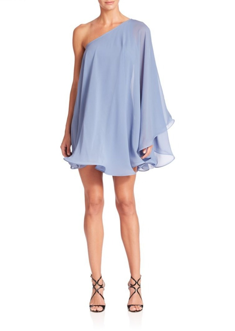 MILLY Andrea Silk One-Shoulder Swing Dress