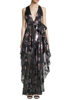 Milly Angie Plunging Floral Metallic Organza Evening Gown