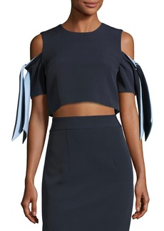 Milly Ansley Cold-Shoulder Stretch-Crepe Cropped Top