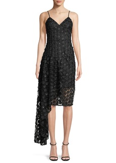 Milly Antonia Stretch Daisy Lace Asymmetric Cocktail Dress