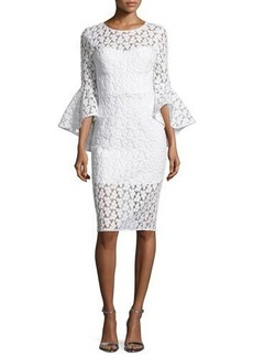 Milly Anya Bell-Sleeve Embroidered Sheath Dress