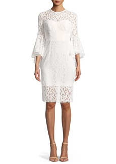 Milly Anya Stretch Lace Bell-Sleeve Cocktail Dress