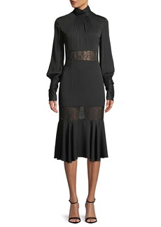Milly Arianna Long-Sleeve Python Lace Midi Dress