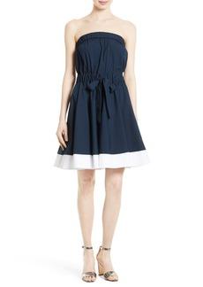 Milly Ariel Poplin Strapless Fit & Flare Dress