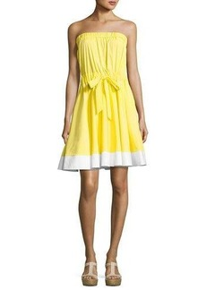 Milly Ariel Strapless Stretch-Poplin Dress