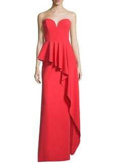 Milly Asymmetric Peplum Strapless Sweetheart Gown