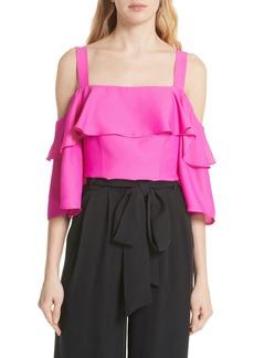 50ca4615424c0 Milly Nicolina Tie-Sleeve Asymmetric Stretch-Silk Top
