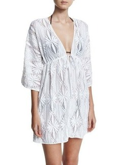 Milly Ava Floral Crochet Coverup Dress