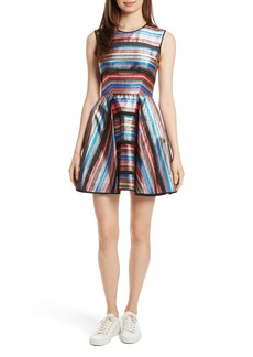 Milly Balli Metallic Stripe Fit & Flare Dress