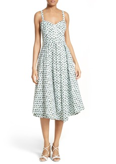 Milly Bambino Palm Print Midi Dress