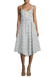 Milly Bambino Palm Tree-Print Bustier Midi Dress