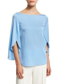 Milly Bateau-Neck Butterfly-Sleeve Satin Blouse