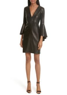Milly Bell Sleeve Leather Dress