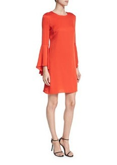 Milly Bell-Sleeve Stretch-Silk Crepe Dress