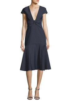 Milly Bella Short-Sleeve Plunging V-Neck Tech Stretch Cocktail Dress