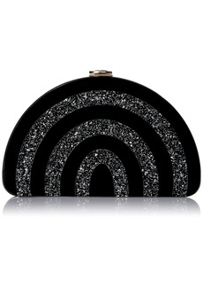 MILLY Black/Silver Half Moon Clutch