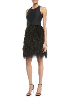 Milly Blair Sleeveless Dress w/ Feather Skirt