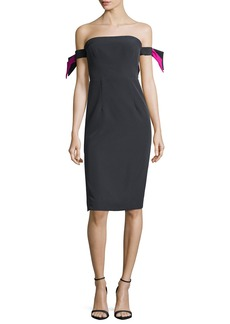 Milly Brit Off-the-Shoulder Italian Cady Cocktail Sheath Dress