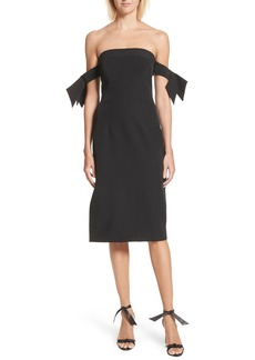 Milly Brit Off the Shoulder Stretch Cady Sheath Dress