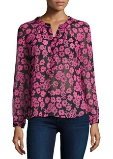 Milly Brooke Floral-Print Chiffon Blouse