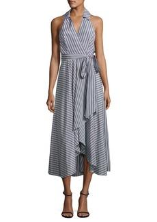 MILLY Brooklyn Silk Blend Wrap Strap Dress