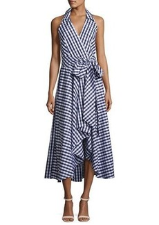 Milly Brooklyn Sleeveless Gingham Shirting Wrap Dress